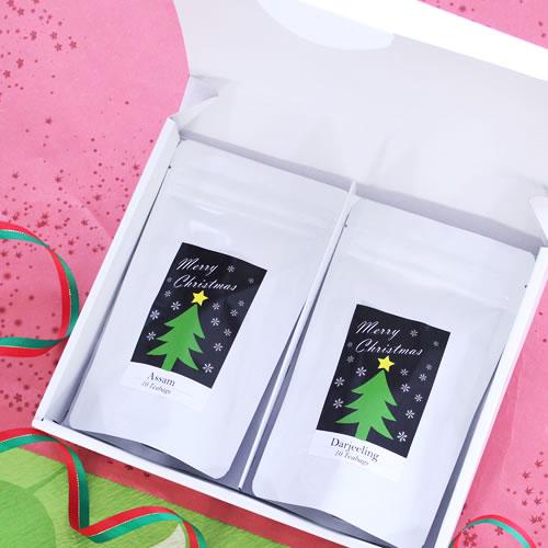 シンプルな紅茶・ハーブティのクリスマスラッピング