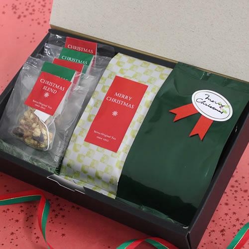 かっこいいなお茶と菓子セットのクリスマスラッピング