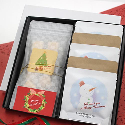 かわいいな紅茶菓子セットのクリスマスラッピング