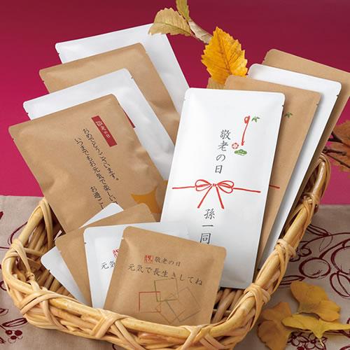 敬老の日向け メッセージ付きお茶パッケージ