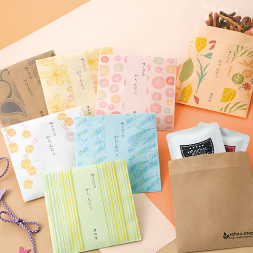 カジュアルな和菓子のパッケージ