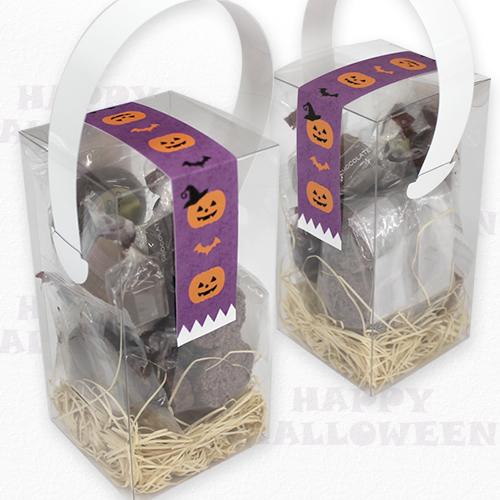 キューブ箱にお菓子を詰め合わせたハロウィンパッケージ