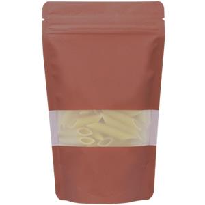 チャック付透明スタンド袋 茶 窓付120×200