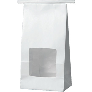 ワイヤー付角底袋 白 窓付 120×70×222