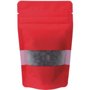 チャック付透明スタンド袋 赤 窓付 90×145
