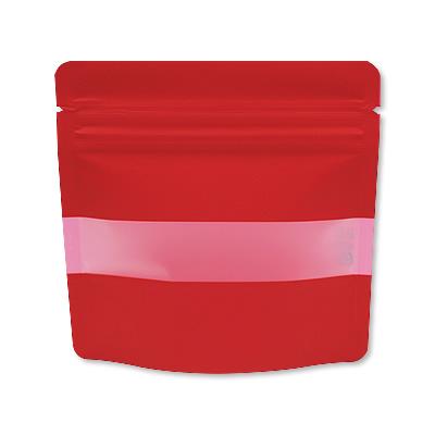 チャック付透明スタンド袋 赤 窓付130×130
