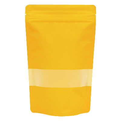 チャック付透明スタンド袋 黄 窓付140×220