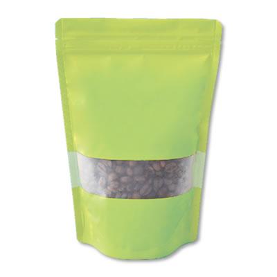 チャック付透明スタンド袋 緑 窓付140×220