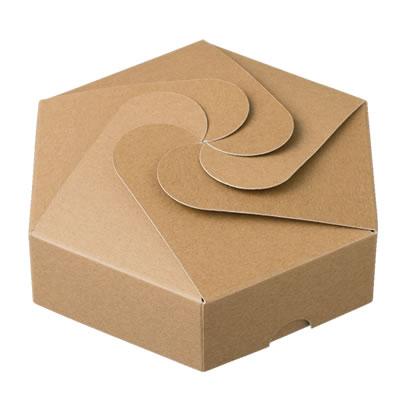 六角カートン 渦型 クラフト 160×40×160