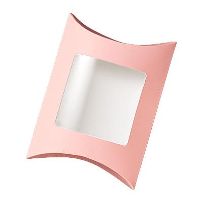 ピローカートン ピンク フィルム窓付