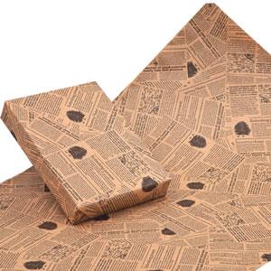 包装紙ワイド(英字柄) クラフト