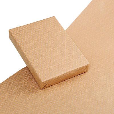 包装紙ワイド(麻の葉柄)白 クラフト