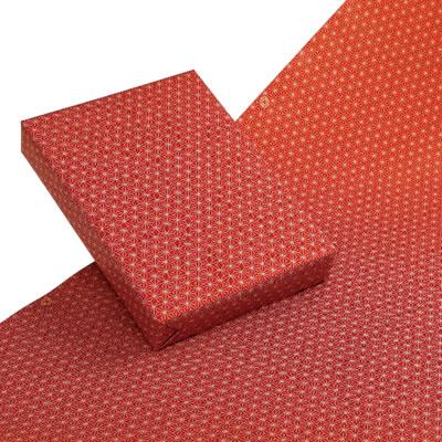 包装紙ワイド(麻の葉柄)赤 クラフト