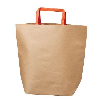 手さげ紙袋 クラフト (提げ手オレンジ)