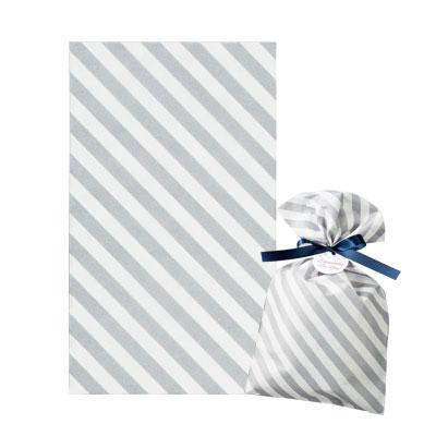 不織布 ラッピング袋 縞グレー 150×250