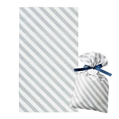 不織布 ラッピング袋 縞グレー 170×300
